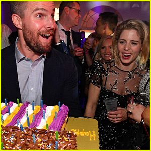Emily Bett Rickards Helps Stephen Amell Celebrate Birthday at Kentucky Derby