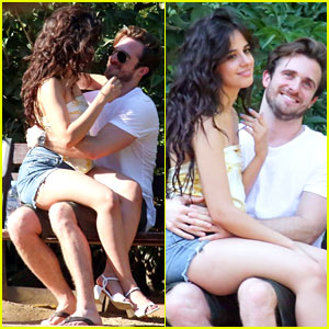 Camila Cabello & Matthew Hussey Snuggle Up at a Park in Spain