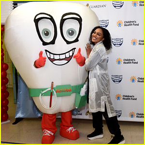 China Anne McClain Dances Around With Giant Tooth at Guardian & Children's Health Fun Oral Hygiene Launch