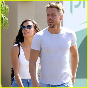 Derek Hough & Hayley Erbert Match in White Tees & Jeans!