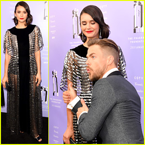Nina Dobrev Gets Photobombed by Pal Derek Hough at Fragrance Foundation Awards!