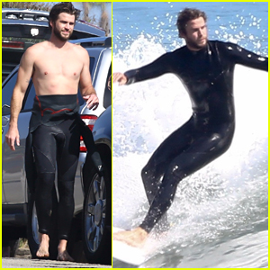 Liam Hemsworth Goes Shirtless While Surfing in Malibu!