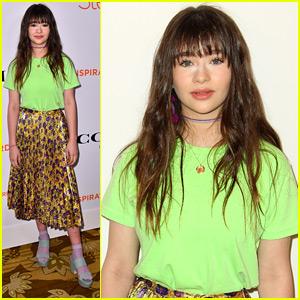 Malina Weissman Wears Bright Green & Gold To Step Up Inspiration Awards 2018