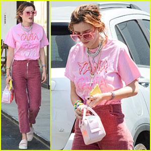 Bella Thorne Reps Tana Mongeau T-Shirt While Running Errands in LA