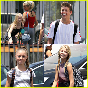 Young Pros Rylee Arnold, Brightyn Brems, & More Head To Studio For 'Dancing With The Stars Juniors' Rehearsals
