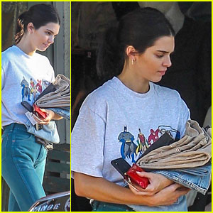 Kendall Jenner Sports Vintage 'Justice League' Shirt
