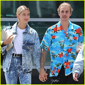 Hailey Baldwin Wears Denim Outfit to Church with Fiance Justin Bieber