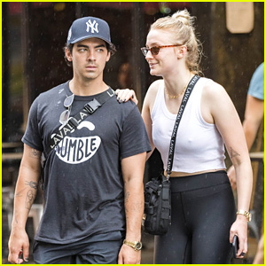 Joe Jonas Walks Through Rainy NYC with Fiancee Sophie Turner