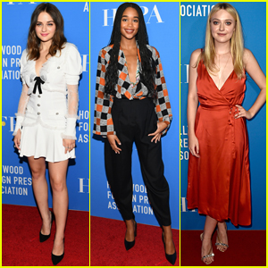 Joey King, Laura Harrier, & Dakota Fanning Go Glam for HFPA Banquet!