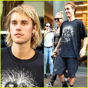 Justin Bieber Gets His Hair Cut While Hailey Baldwin Watches