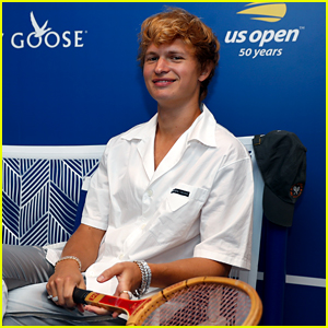 Newly Blonde Ansel Elgort Checks Out US Open Over The Weekend