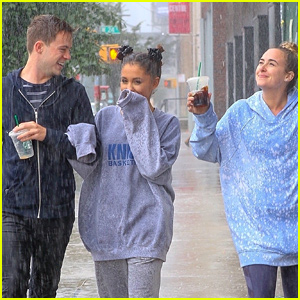 Ariana Grande Walks Through the Pouring Rain with Her Best Friends!