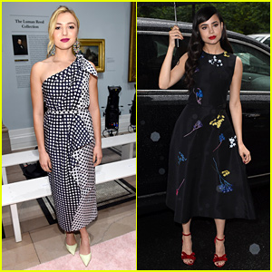 Peyton List & Sofia Carson Brave the Rain to Attend Carolina Herrera Show!
