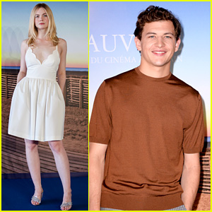 Elle Fanning & Tye Sheridan Pose at Photo Calls for Deauville Film Festival