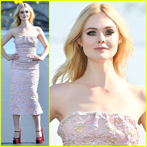 Elle Fanning Walks The Floating Runway at L'Oreal Paris Fashion Show