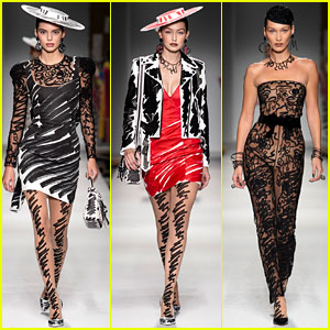 Kendall Jenner, Gigi Hadid, & Bella Hadid Are Sketches Come to Life in Moschino Fashion Show!