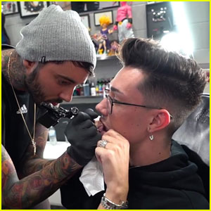 James Charles Gets His First Tattoo - On His Lip!