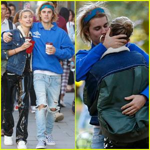 Justin Bieber Kisses Hailey Baldwin at a Park in London
