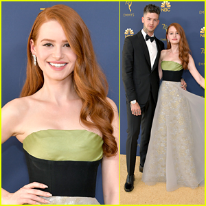 Madelaine Petsch Glistens in Gold & Green at Emmy Awards 2018