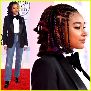Amandla Stenberg Rocks Technicolor Braids at American Music Awards 2018