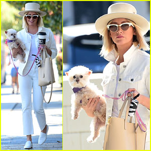 Ashley Tisdale Wears All White While Running Errands With Her Pup