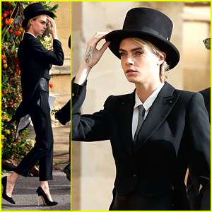 Cara Delevingne Wears Top Hat To Princess Eugenie's Royal Wedding in England
