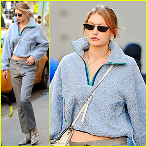 Gigi Hadid Stays Warm in a Fuzzy Blue Sweater While Out in NYC