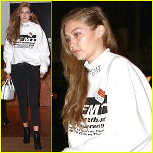 Gigi Hadid Wears Her Name On Her Sweater