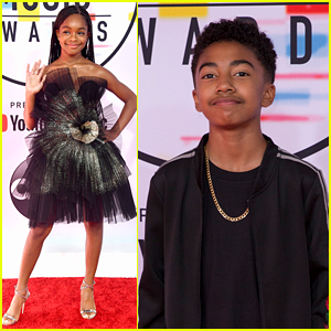 'Black-ish' Stars Miles Brown & Marsai Martin Step Out For AMAs 2018