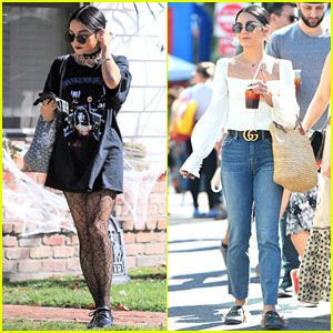 Vanessa Hudgens Pairs Halloween T-Shirt With Spiderweb Tights While Visiting a Friend
