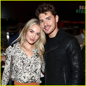 Gregg Sulkin & Girlfriend Michelle Randolph Couple Up for Hulu's Holiday Party!