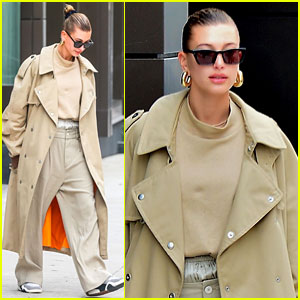 Hailey Bieber Looks Fall-Ready in Oversized Beige Trench Coat