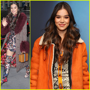 Hailee Steinfeld Wears Floral Boots With Floral Dress To Promote 'Bumblebee' in NYC