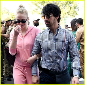 Sophie Turner Rocks Pink Sweatsuit in India Alongside Joe Jonas
