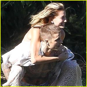 Justin Bieber Gives Hailey Bieber a Piggyback Ride During an Impromptu Photo Shoot!