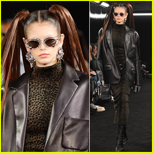 Kaia Gerber Sports Pigtails for Alexander Wang Fashion Show!