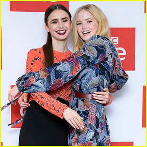 Lily Collins & Ellie Bamber Hug It Out at 'Les Miserables' Photocall in London!