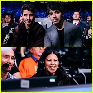 Nick Jonas, Joe Jonas, & Gina Rodriguez Team Up for Canelo vs Rocky Fight