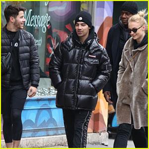 Nick Jonas, Joe Jonas, & Sophie Turner Step Out to Grab Some Cookies!