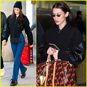 Bella Hadid Carries Cherry-Printed Bag With Banana-Shaped Keychain
