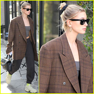 Hailey Bieber Pairs Oversized Blazer With Crop Top & Sweatpants
