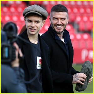 Romeo Beckham Joins Dad David at Salford City Game