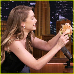 Gigi Hadid Eats a Burger with Tiny Hands on 'The Tonight Show' - Watch Here!