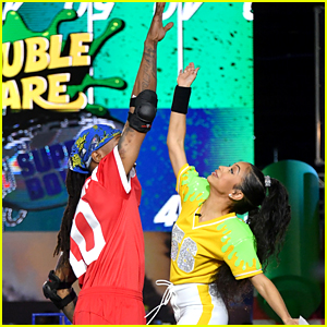 Liza Koshy Shoots Special Super Bowl Episode of 'Double Dare'
