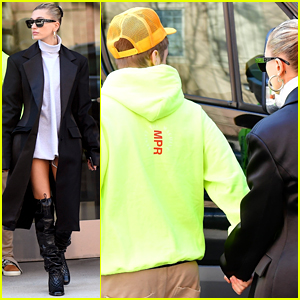 Justin & Hailey Bieber Hold Hands While Leaving Their Apartment