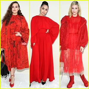 Katherine Langford, Sofia Carson, & Lili Reinhart Wow In Red at Valentino Fashion Show