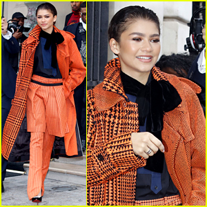 Zendaya Keeps It Classy in Orange & Black While Heading Out in Paris