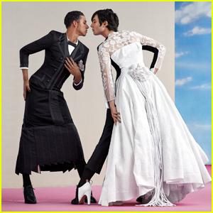 Ezra Miller & Keiynan Lonsdale Show Off Dresses From Met Gala Exhibit