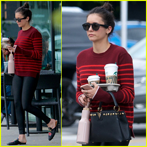 Nina Dobrev Sports Striped Sweater for Starbucks Stop