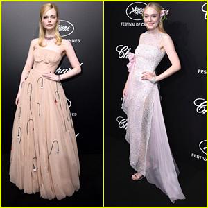Elle Fanning & Sister Dakota Coordinate Their Gorgeous Looks For Trophee Chopard Dinner During Cannes Film Festival 2019